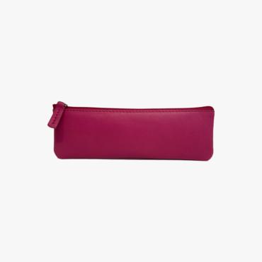 Estuche de piel hecho a mano para hombres y mujeres - Estuche para portaboli gafas y abanico - Piel Oslo Lisa - Color Fuxia 2