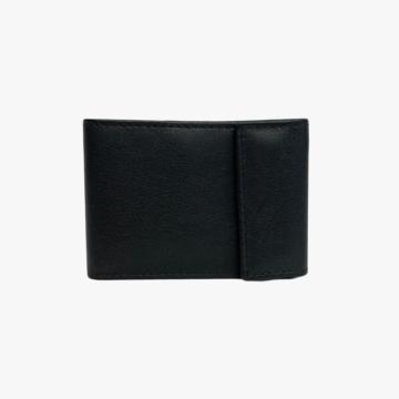 Billetero de piel hecho a mano para hombre y mujer - Modelo Danae - Piel de Vaca Oslo lisa - Negro