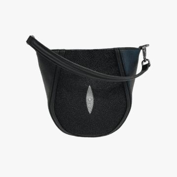 Bolso de mano hecho de piel para mujer - Modelo Gloria - Piel de Vaca Oslo Lisa Y raya - Color Negro