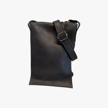 Bolso de piel hecho a mano para hombre - Modelo John - Piel Dacar - Color Negro - front