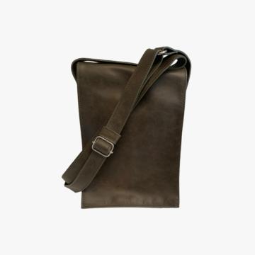 Bolso de piel hecho a mano para hombre - Modelo John - Piel Dacar - Color Verde - Front