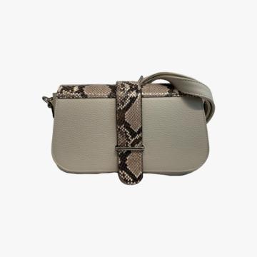 Bolso de piel hecho a mano para mujer - Modelo Miriam - Piel de Vaca estampado Serpiente - Bicolor Color 1