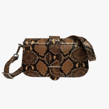 Bolso de piel hecho a mano para mujer - Modelo Miriam - Piel de Vaca estampado Serpiente - Color Cuero