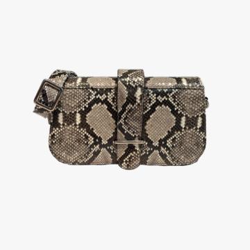 Bolso de piel hecho a mano para mujer - Modelo Miriam - Piel de Vaca estampado Serpiente - Color Natural