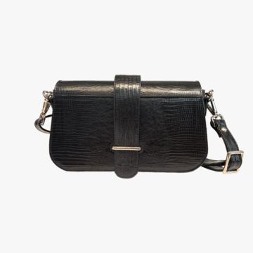 Bolso de piel hecho a mano para mujer - Piel de Vaca estampado Serpiente - Color Negro