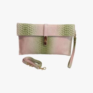 Carpeta de piel hecho a mano para Mujer - Modelo Lea - Piel de Vaca estampado Python Biblos - Color Rosa y Turquesa
